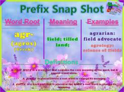 agr- Greek Prefix Snap Shot
